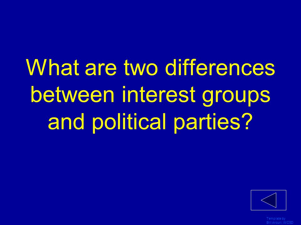 Template by Bill Arcuri, WCSD What is the role performed by both political parties and interest groups in the U.S. political system?