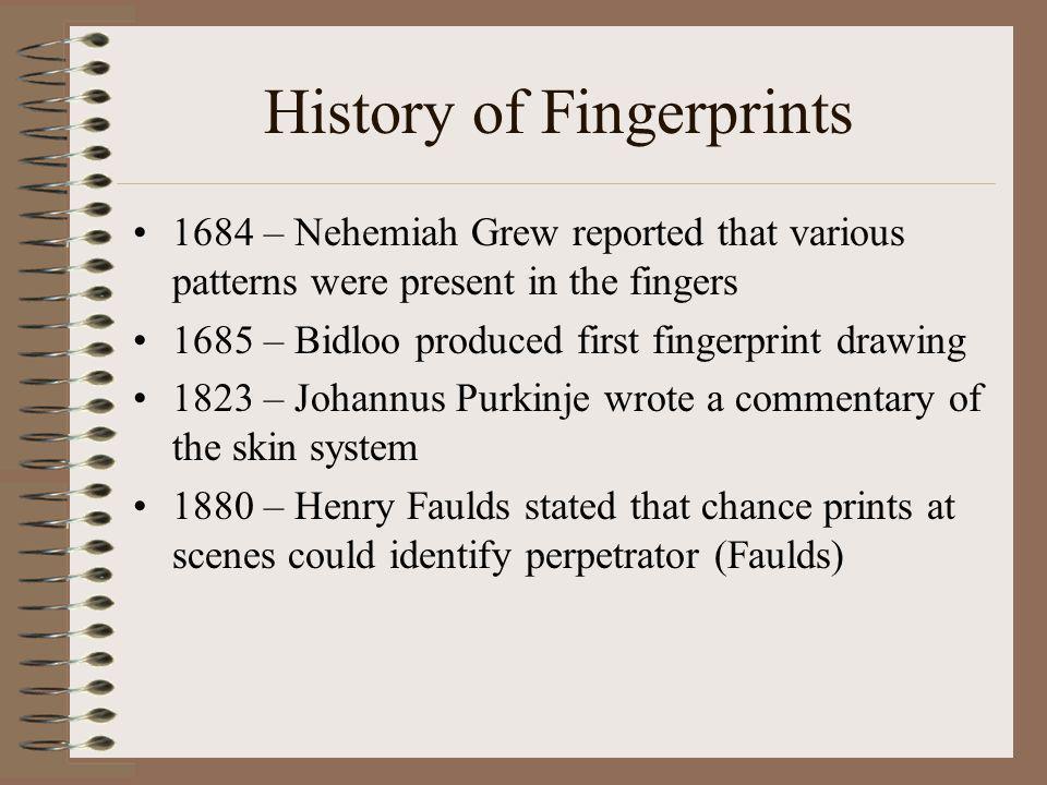 History of Fingerprints 1892 – Francis Galton wrote his book called Fingerprints .