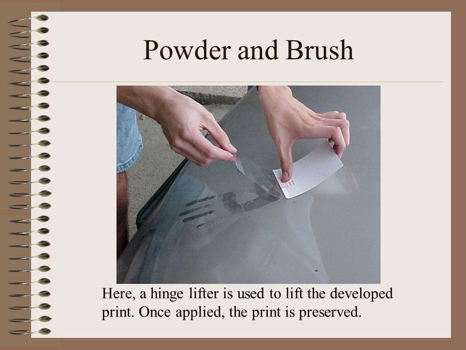 Powder and Brush Here, a hinge lifter is used to lift the developed print. Once applied, the print is preserved.