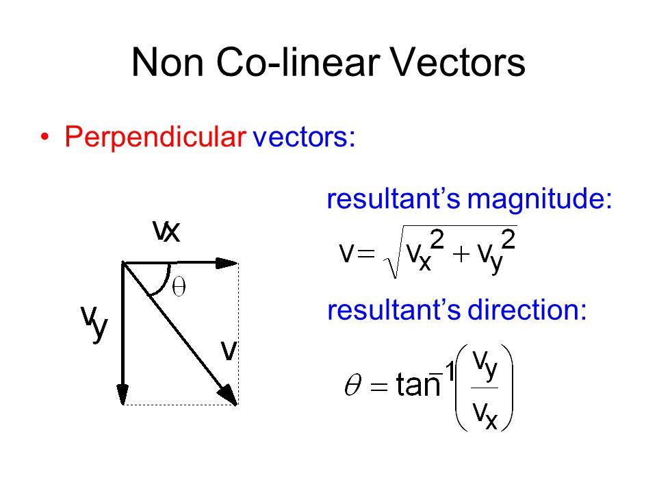 Non Co-linear Vectors Perpendicular vectors: resultant's magnitude: resultant's direction: