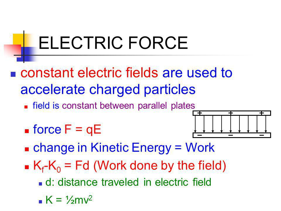 ELECTRIC FORCE constant electric fields are used to accelerate charged particles field is constant between parallel plates force F = qE change in Kine