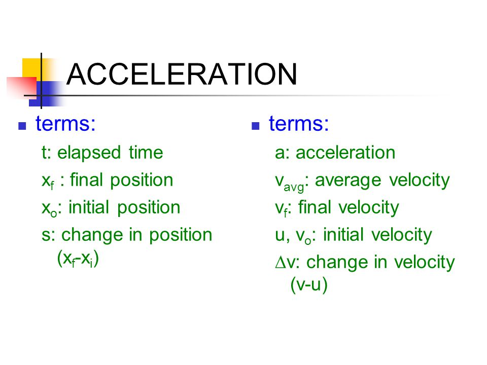 ACCELERATION terms: t: elapsed time x f : final position x o : initial position s: change in position (x f -x i ) terms: a: acceleration v avg : avera