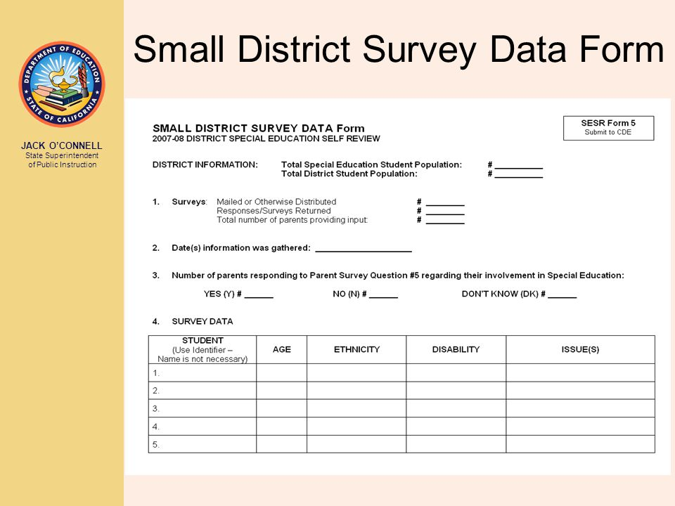 JACK O'CONNELL State Superintendent of Public Instruction Small District Survey Data Form