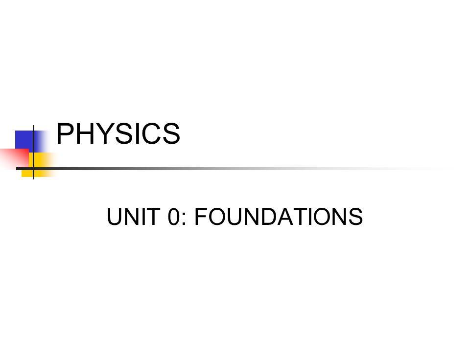 PHYSICS UNIT 0: FOUNDATIONS