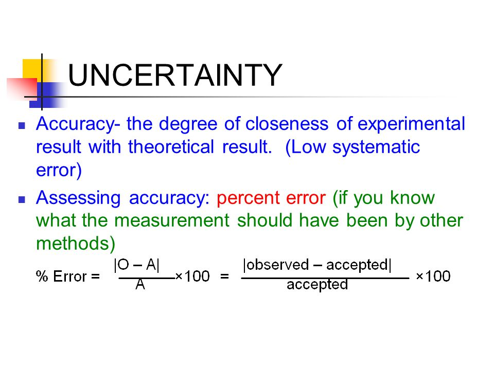UNCERTAINTY Accuracy- the degree of closeness of experimental result with theoretical result.