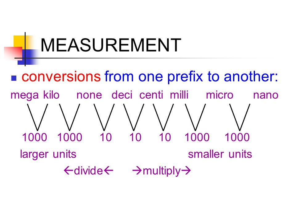 MEASUREMENT conversion factors - multipliers that change units without changing equation's overall value (factors have a value of 1) ex: 1 in = 2.54 cm factors: set up so units cancel ex: find the kilometers in 1 mile