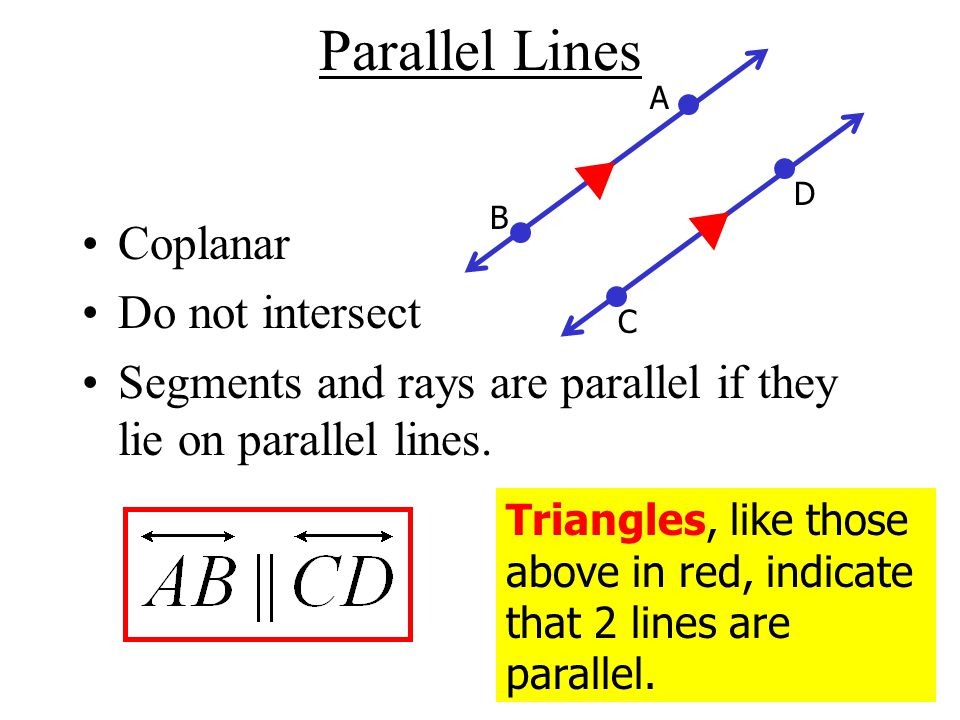 Parallel Lines Coplanar Do not intersect Segments and rays are parallel if they lie on parallel lines.