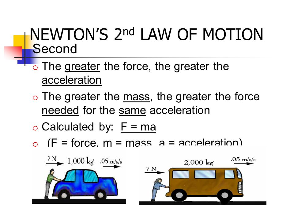 Second  The greater the force, the greater the acceleration  The greater the mass, the greater the force needed for the same acceleration  Calculat