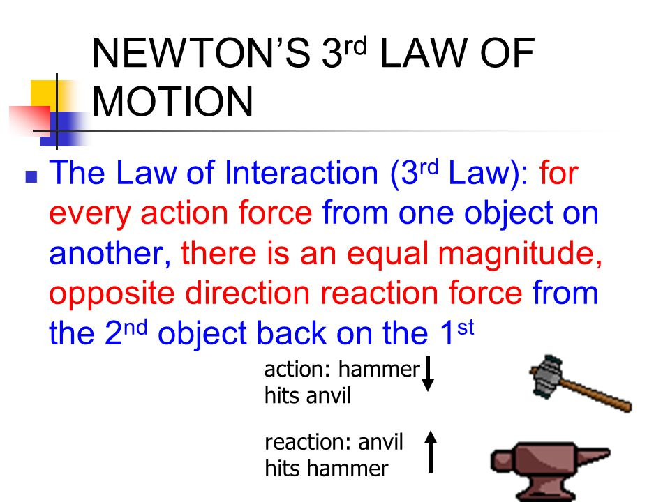 NEWTON'S 3 rd LAW OF MOTION The Law of Interaction (3 rd Law): for every action force from one object on another, there is an equal magnitude, opposit