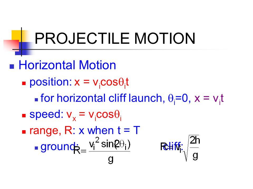 PROJECTILE MOTION Horizontal Motion position: x = v i cos  i t for horizontal cliff launch,  i =0, x = v i t speed: v x = v i cos  i range, R: x wh