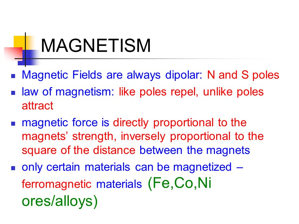 MAGNETISM Magnetic Fields are always dipolar: N and S poles law of magnetism: like poles repel, unlike poles attract magnetic force is directly propor