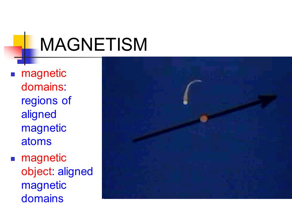 MAGNETISM magnetic domains: regions of aligned magnetic atoms magnetic object: aligned magnetic domains