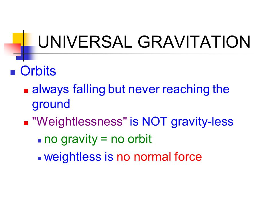 UNIVERSAL GRAVITATION Orbits always falling but never reaching the ground