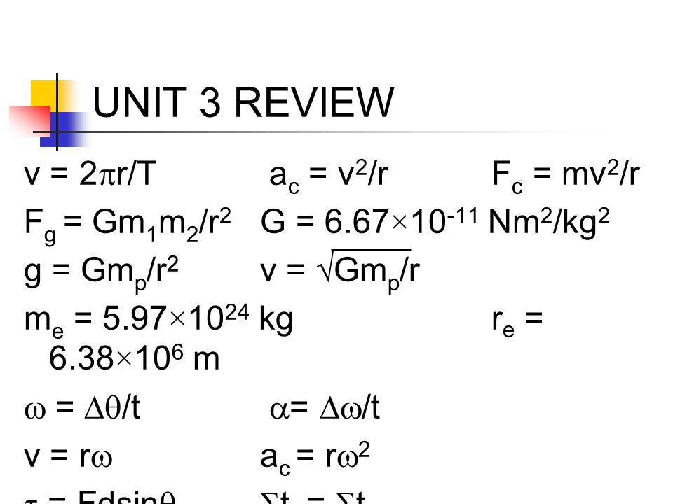 UNIT 3 REVIEW v = 2  r/T a c = v 2 /rF c = mv 2 /r F g = Gm 1 m 2 /r 2 G = 6.67×10 -11 Nm 2 /kg 2 g = Gm p /r 2 v = √Gm p /r m e = 5.97×10 24 kgr e =