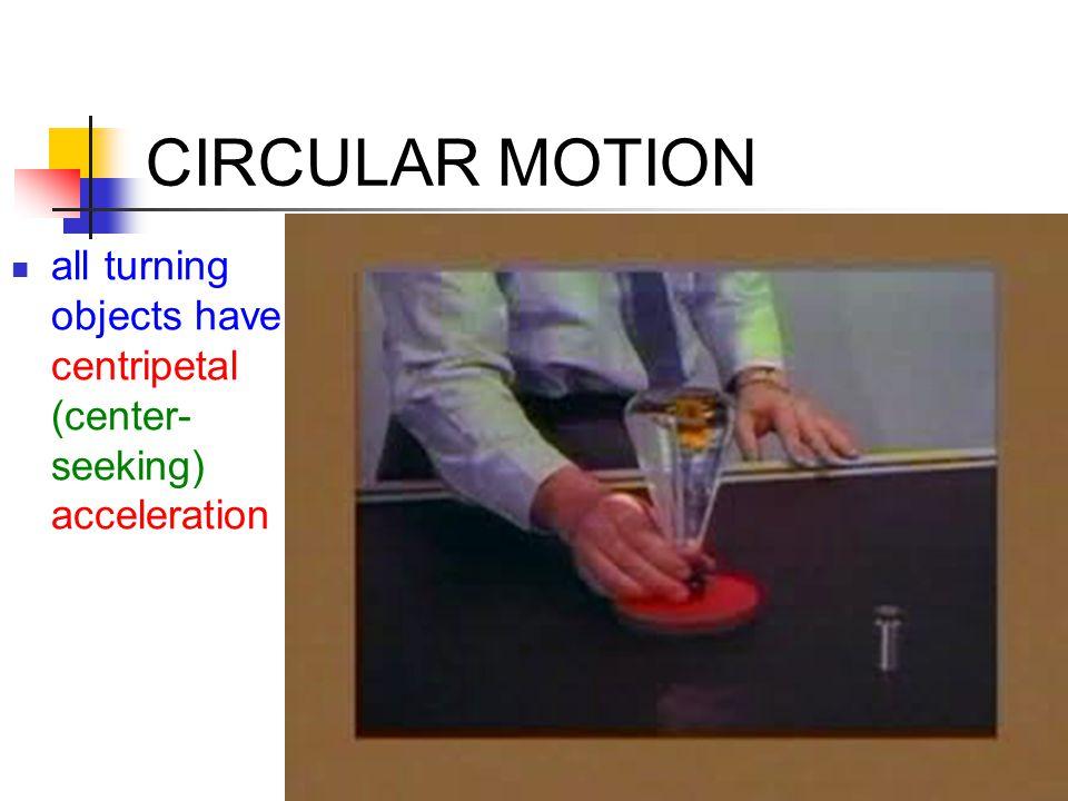 CIRCULAR MOTION centripetal acceleration, a c = v 2 /r the greater the speed, the greater the centripetal acceleration the smaller the radius of the turn, the greater the centripetal acceleration a centripetal acceleration requires a centripetal force