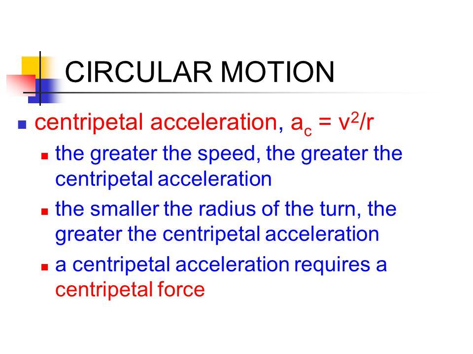 CIRCULAR MOTION no centrip etal force = no turning (linear motion)