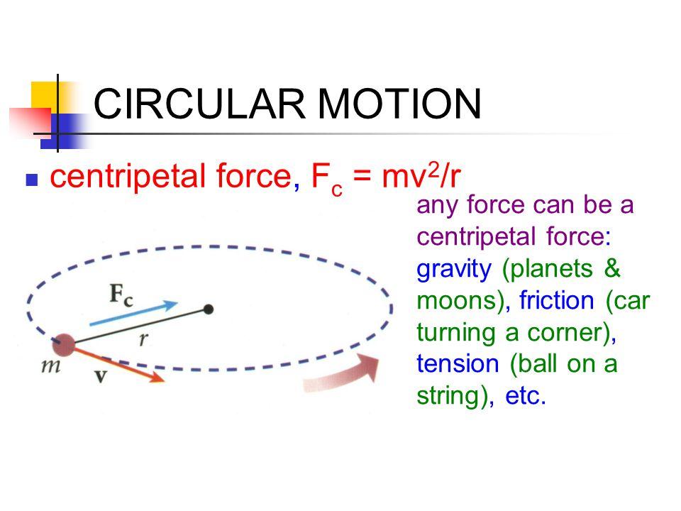 UNIVERSAL GRAVITATION Orbits: gravity provides the centripetal force stable orbit: F c = F g orbit speed v = √Gm e /r orbit period T = 2  r/v geosynchronous orbit: T = 24.0 hrs, satellite stays over same position on earth