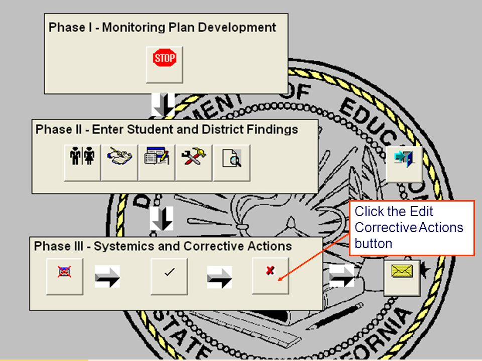 JACK O'CONNELL State Superintendent of Public Instruction Click the Edit Corrective Actions button