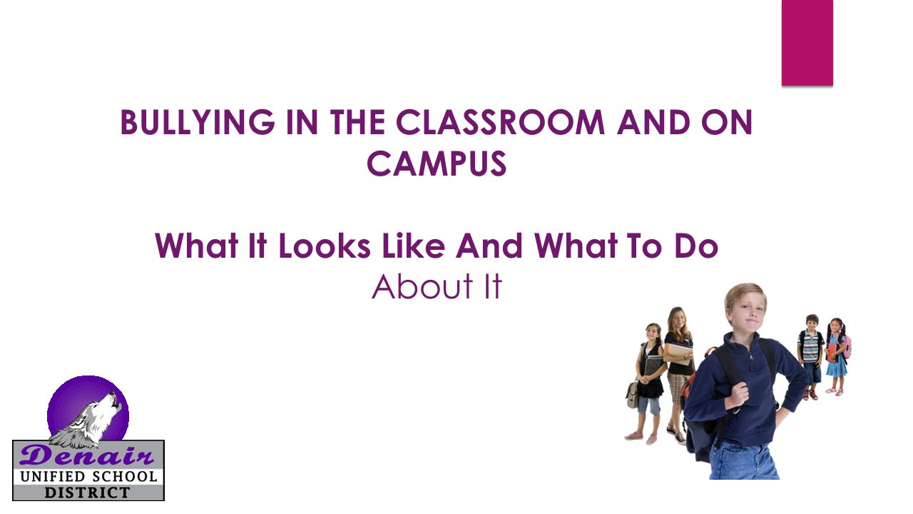 BULLYING IN THE CLASSROOM AND ON CAMPUS What It Looks Like And What To Do About It