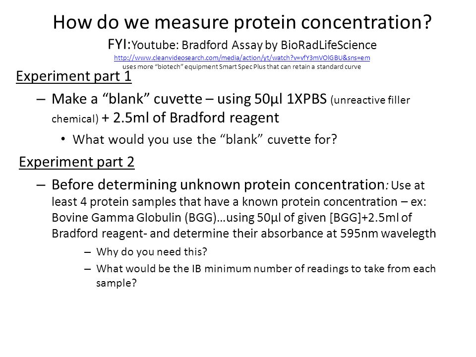 How do we measure protein concentration.
