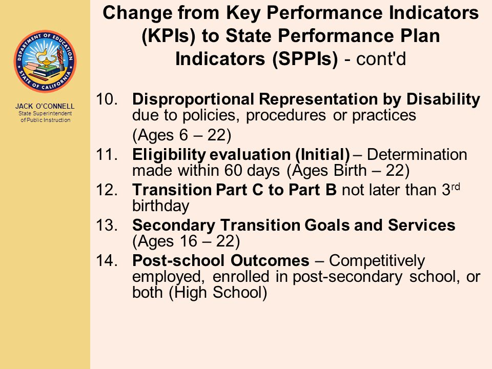 JACK O'CONNELL State Superintendent of Public Instruction Change from Key Performance Indicators (KPIs) to State Performance Plan Indicators (SPPIs) - cont d 10.Disproportional Representation by Disability due to policies, procedures or practices (Ages 6 – 22) 11.Eligibility evaluation (Initial) – Determination made within 60 days (Ages Birth – 22) 12.Transition Part C to Part B not later than 3 rd birthday 13.Secondary Transition Goals and Services (Ages 16 – 22) 14.Post-school Outcomes – Competitively employed, enrolled in post-secondary school, or both (High School)