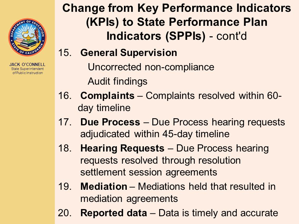 JACK O'CONNELL State Superintendent of Public Instruction Change from Key Performance Indicators (KPIs) to State Performance Plan Indicators (SPPIs) - cont d 15.General Supervision Uncorrected non-compliance Audit findings 16.Complaints – Complaints resolved within 60- day timeline 17.Due Process – Due Process hearing requests adjudicated within 45-day timeline 18.Hearing Requests – Due Process hearing requests resolved through resolution settlement session agreements 19.Mediation – Mediations held that resulted in mediation agreements 20.Reported data – Data is timely and accurate