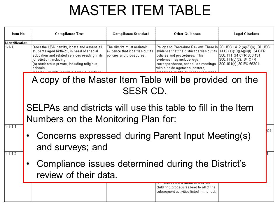 JACK O'CONNELL State Superintendent of Public Instruction MASTER ITEM TABLE A copy of the Master Item Table will be provided on the SESR CD.
