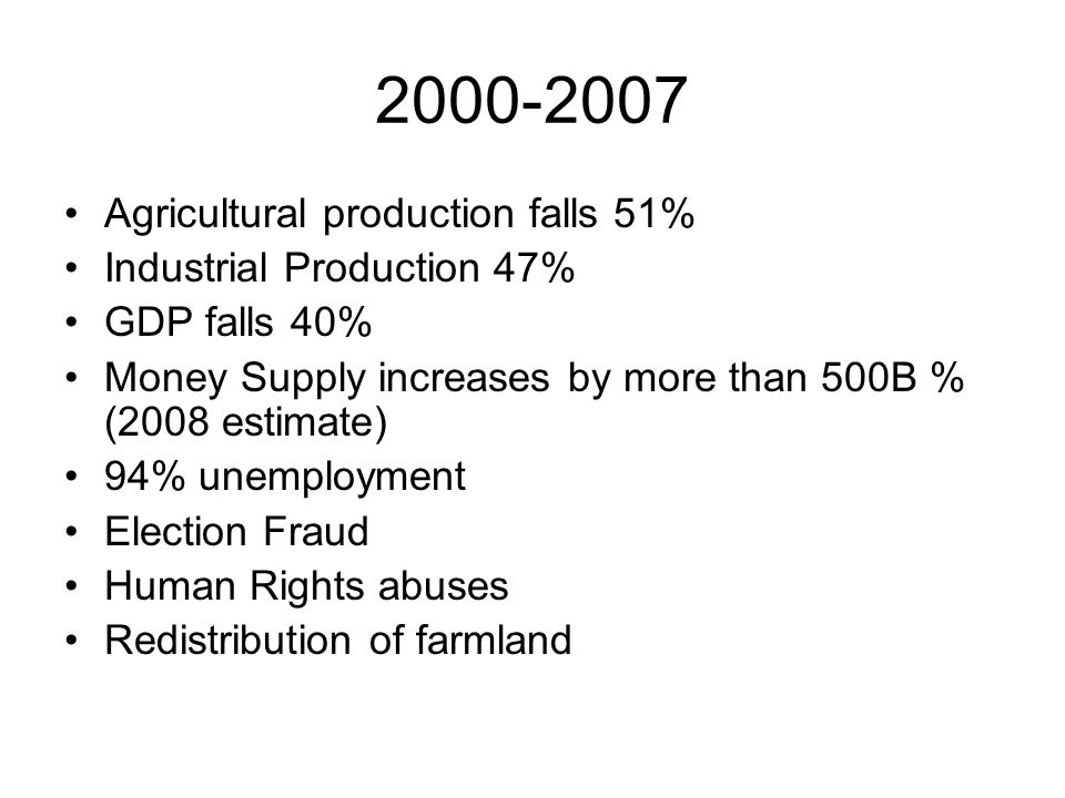 2000-2007 Agricultural production falls 51% Industrial Production 47% GDP falls 40% Money Supply increases by more than 500B % (2008 estimate) 94% une