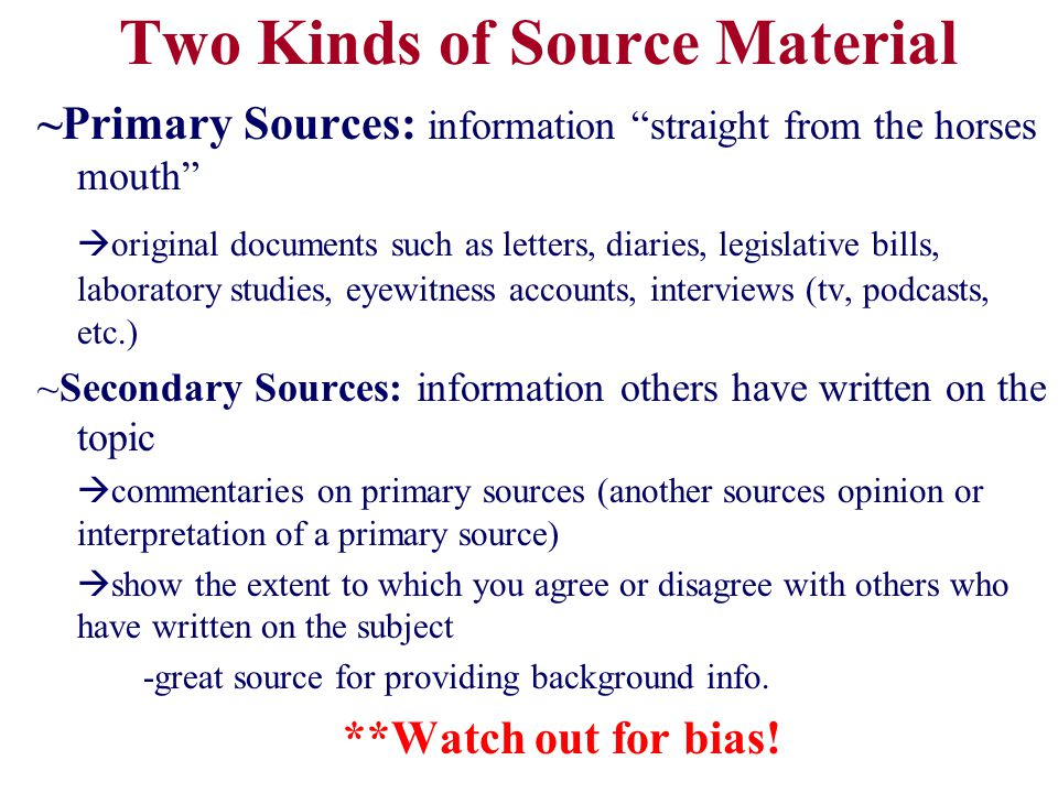 Can a source be Primary & Secondary?.