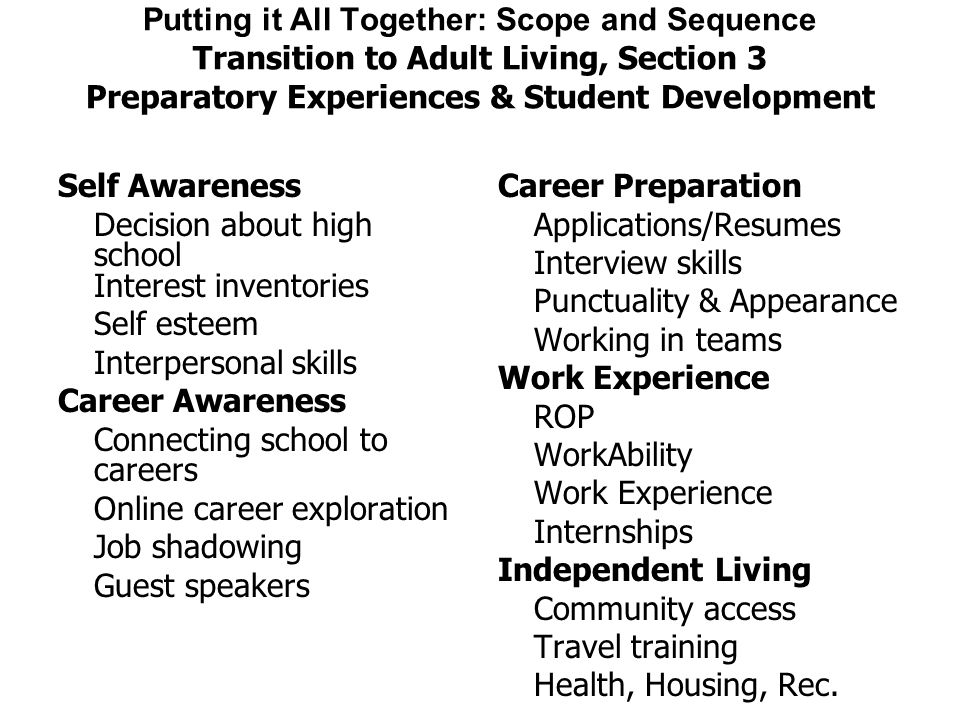 Putting it All Together: Scope and Sequence Transition to Adult Living, Section 3 Preparatory Experiences & Student Development Self Awareness Decisio