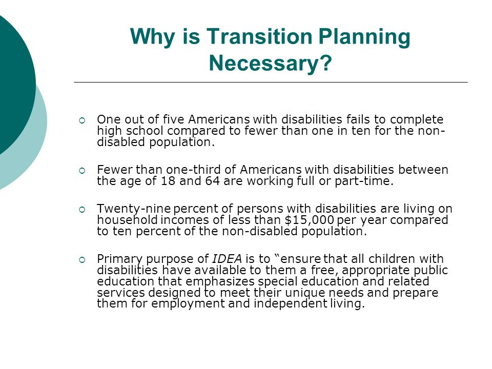 Why is Transition Planning Necessary?  One out of five Americans with disabilities fails to complete high school compared to fewer than one in ten fo
