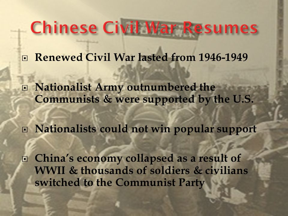  By 1949, China's major cities fell to Mao's Red Army  Jiang's army & government fled to Taiwan  Mao's Promises  Give land back to the peasants  China became the People's Republic of China  Signed Treaty of Friendship with Russia (1950)