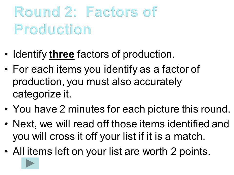 Identify three factors of production.