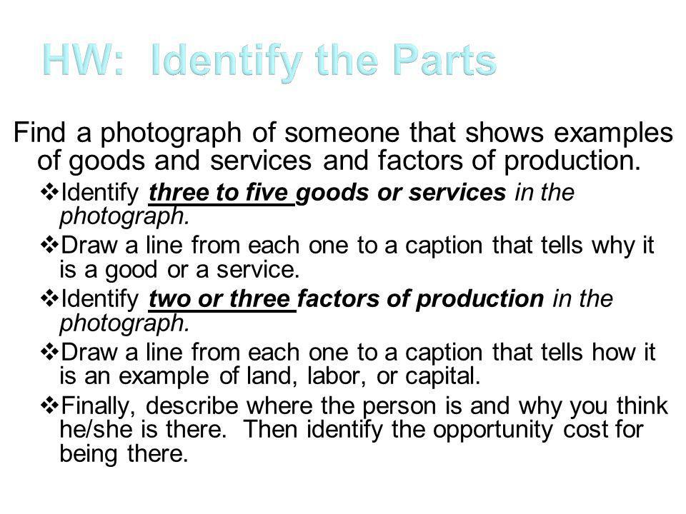 Find a photograph of someone that shows examples of goods and services and factors of production.