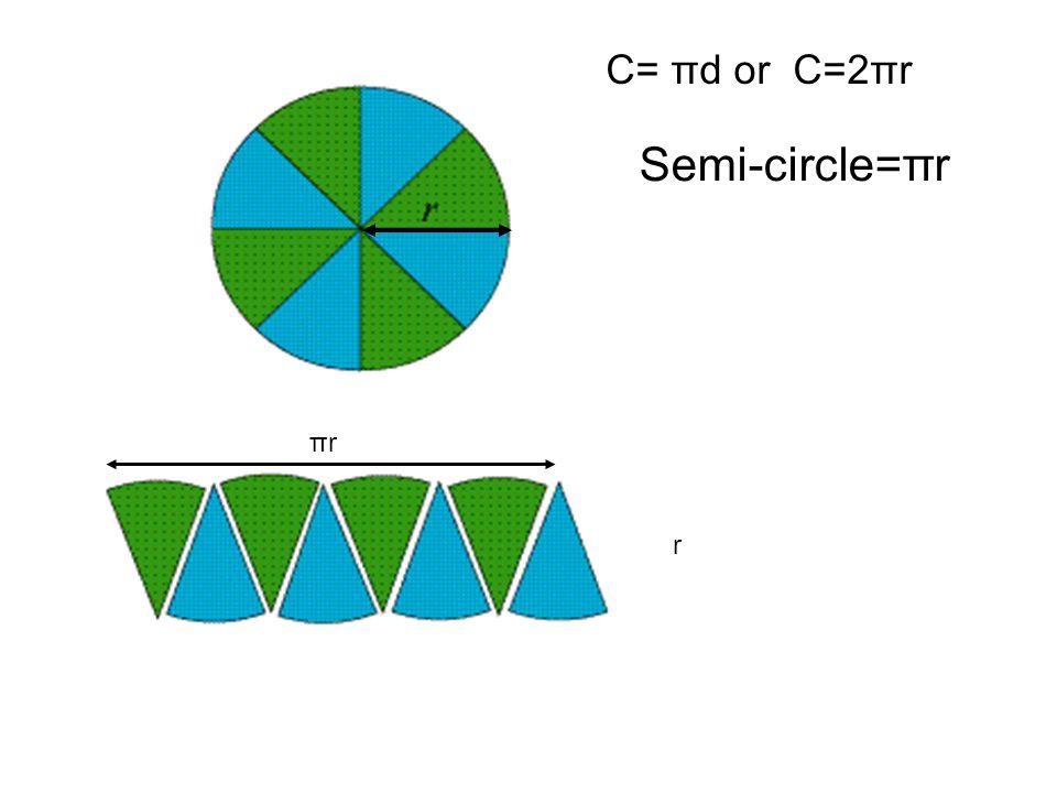 C= πd or C=2πr Semi-circle=πr πrπr r