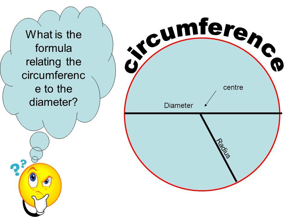 Diameter Radius centre What is the formula relating the circumferenc e to the diameter?