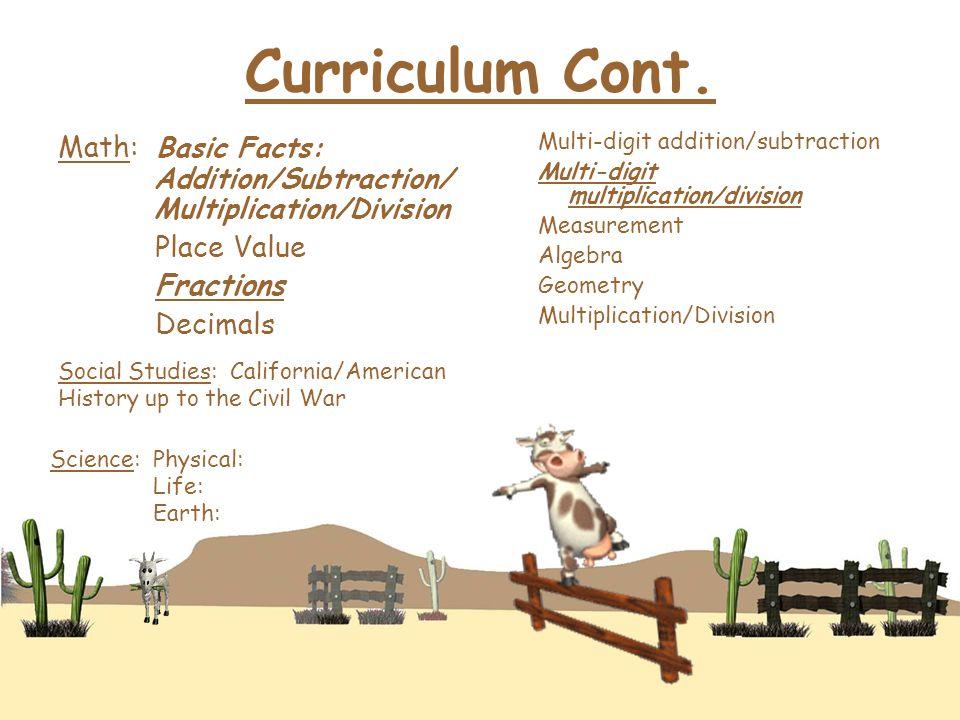 Curriculum Cont.