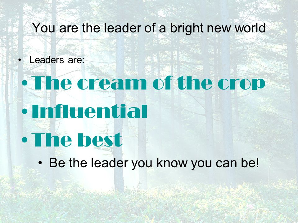 You are the leader of a bright new world Leaders are: The cream of the crop Influential The best Be the leader you know you can be!