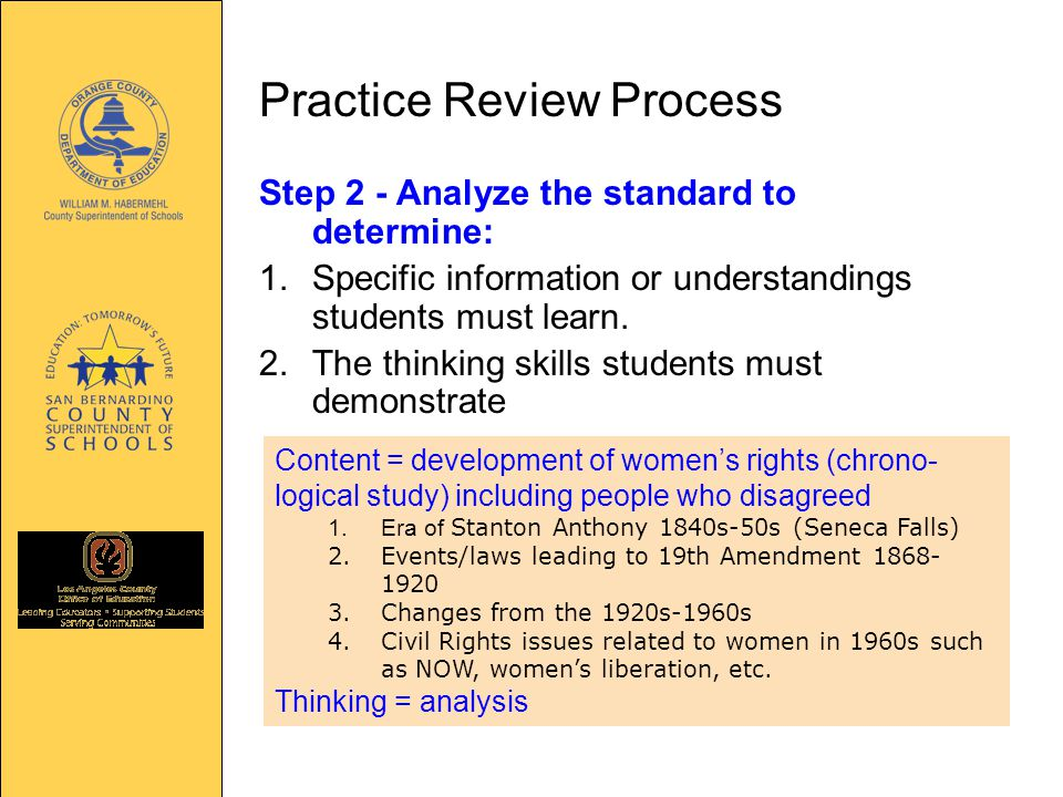 Practice Review Process Step 2 - Analyze the standard to determine: 1.Specific information or understandings students must learn.