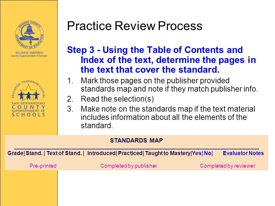 Practice Review Process Step 3 - Using the Table of Contents and Index of the text, determine the pages in the text that cover the standard.