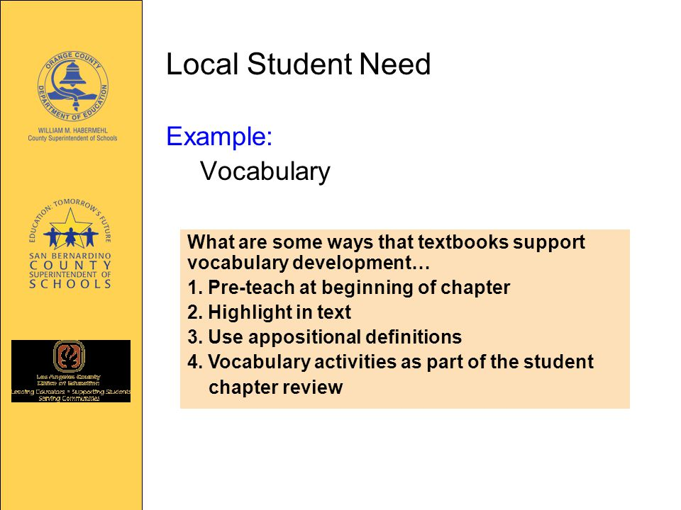 Local Student Need Example: Vocabulary What are some ways that textbooks support vocabulary development… 1.