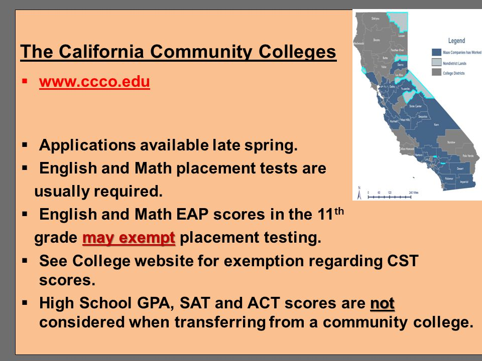 College and Career Opportunities Community Colleges 4-year Colleges and Universities Private and Out-of-State schools –USC, Stanford, Chapman, Concord