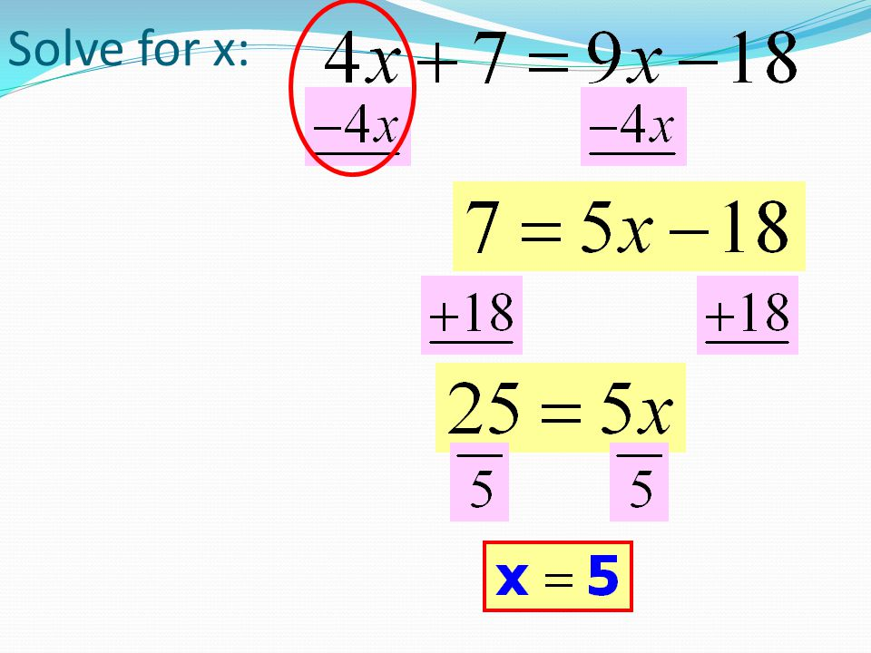 6m +5 – 2m = 10 – 3m +16 +3m 4m +5 = 26 – 3m 7m +5 = 26-5 7m = 21 m =3  Collect like terms on the same side first  Eliminate the variable from one side using the Addition Property of Equality