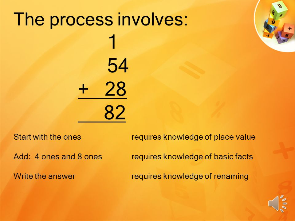 The process involves: 1 54 + 28 82 Start with the onesrequires knowledge of place value Add: 4 ones and 8 ones requires knowledge of basic facts Write the answerrequires knowledge of renaming
