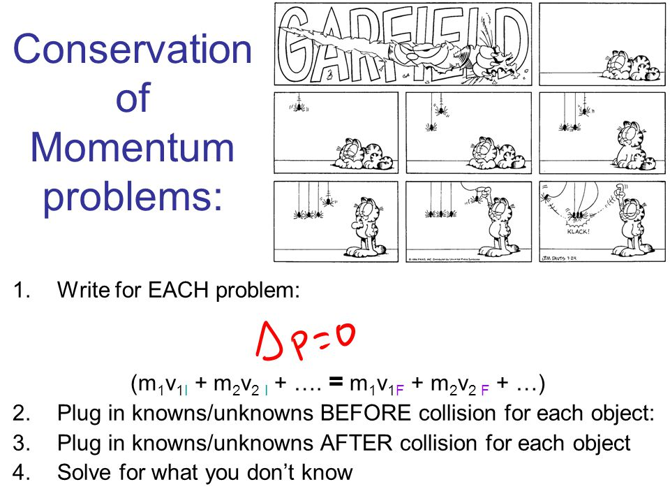 Conservation of Momentum problems: 1.Write for EACH problem: (m 1 v 1I + m 2 v 2 I + …. = m 1 v 1F + m 2 v 2 F + …) 2.Plug in knowns/unknowns BEFORE c