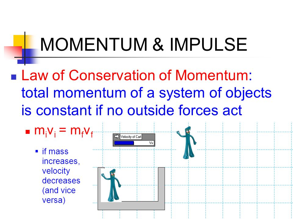 MOMENTUM & IMPULSE Law of Conservation of Momentum: total momentum of a system of objects is constant if no outside forces act m i v i = m f v f  if