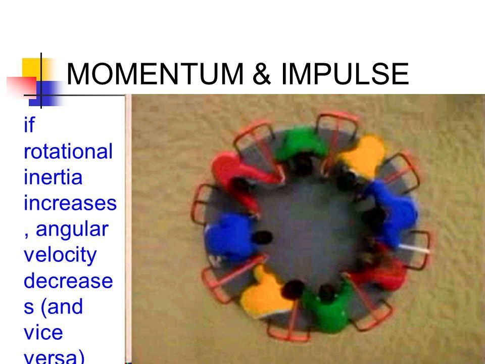MOMENTUM & IMPULSE if rotational inertia increases, angular velocity decrease s (and vice versa)