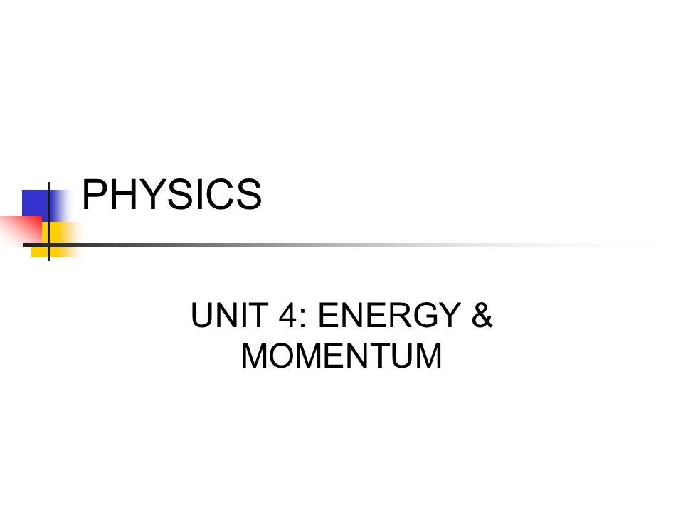 PHYSICS UNIT 4: ENERGY & MOMENTUM