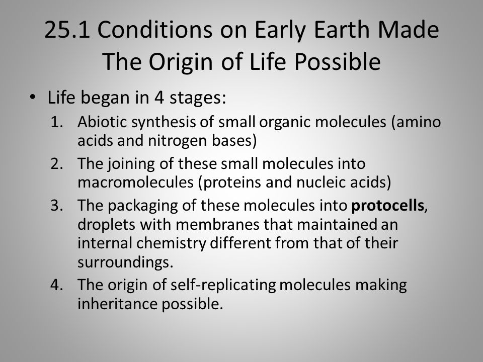 25.1 Conditions on Early Earth Made The Origin of Life Possible Life began in 4 stages: 1.Abiotic synthesis of small organic molecules (amino acids an