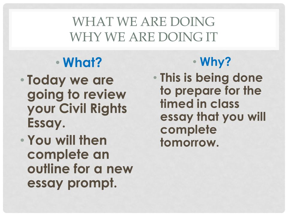 CIVIL RIGHTS SPEECH TEST Take 5 minutes and grade you own essay using the rubric provided.